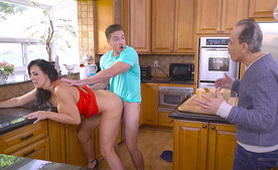 Cheating MILF Reagan Fox Fucks in the Kitchen with Neighbor