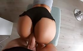 PAWG Hot Mom in Tight Mini Short Doggystyled