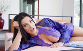 New Latina Face on Porn, Busty Dark Haired Babe in Nightgown Hard Banged