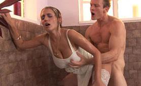 Huge Natural Titted Maid Getting Fucked by Homeowner in the Bath