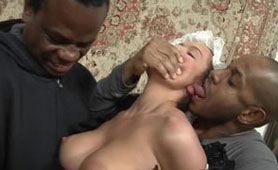 Poor Big Boobed Maid Destroyed by Two BBC