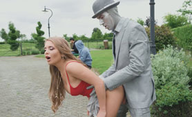 Busty Blonde Chick Hotly Fucks Robot on the Glade - Public XxxPorner